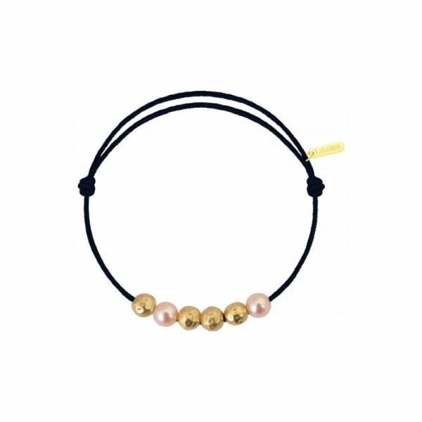 Bracelet sur cordon Claverin Cordon Mini en or jaune et perles roses