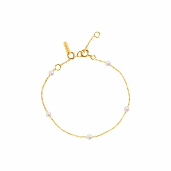 Bracelet Claverin Mini Give Me Five en or jaune et perles blanches
