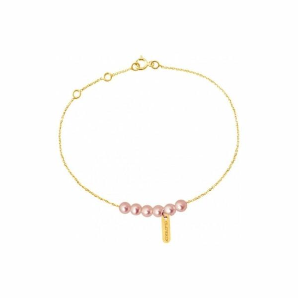 Bracelet Claverin Mini Rosary en or jaune et perles roses