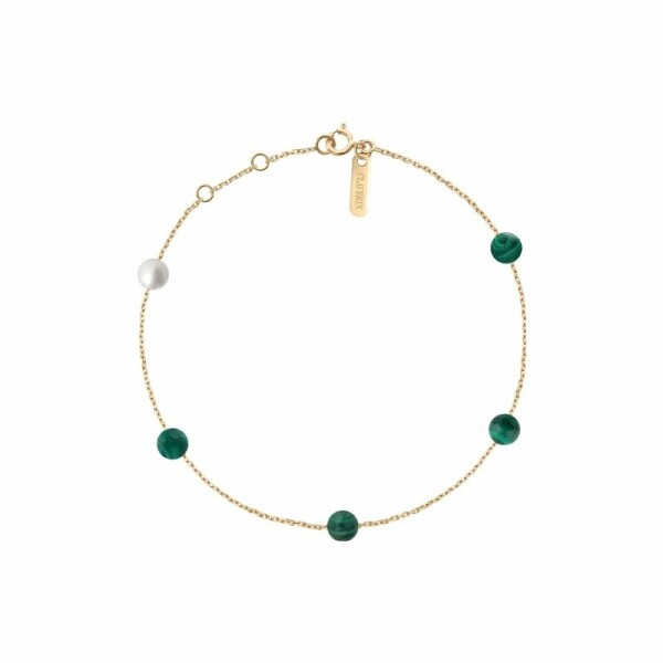 Bracelet Claverin Hope Five en or jaune, perles de malachite et perle blanche