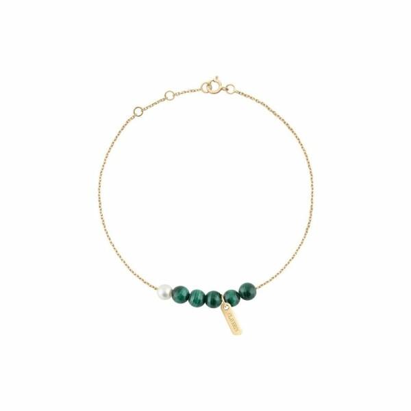 Bracelet Claverin Hope Six en or jaune, perles de malachite et perle blanche