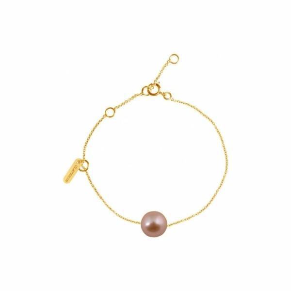 Bracelet Claverin Simply Pearly en or jaune et perle rose