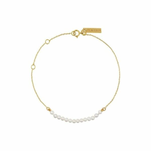 Bracelet Claverin Mini Rock My Pearls en or jaune et perles blanches