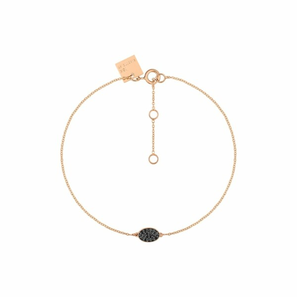 Bracelet GINETTE NY ELLIPSES & SEQUINS en or rose et diamants noirs