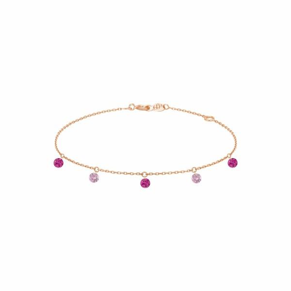 Bracelet LA BRUNE & LA BLONDE CONFETTI Rose en or rose, rubis et saphirs rose de 0.65ct