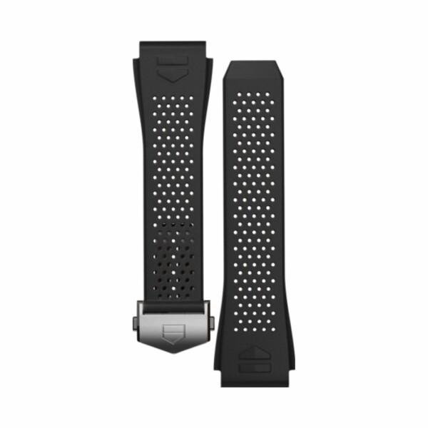 Bracelet de montre TAG Heuer Connected en caoutchouc perforé noir