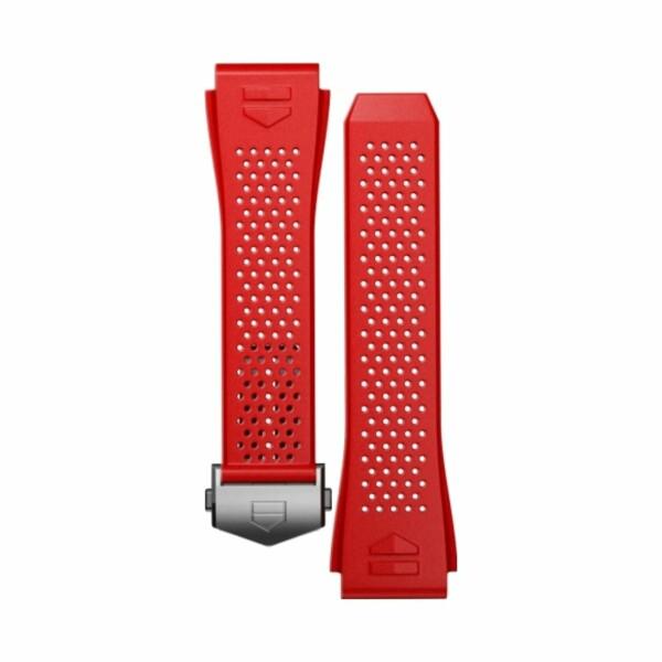 Bracelet de montre TAG Heuer Connected en caoutchouc perforé rouge
