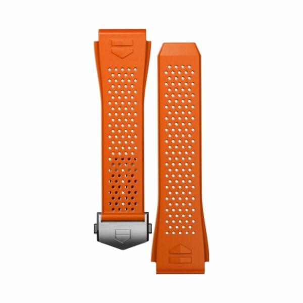 Bracelet de montre TAG Heuer Connected en caoutchouc perforé orange