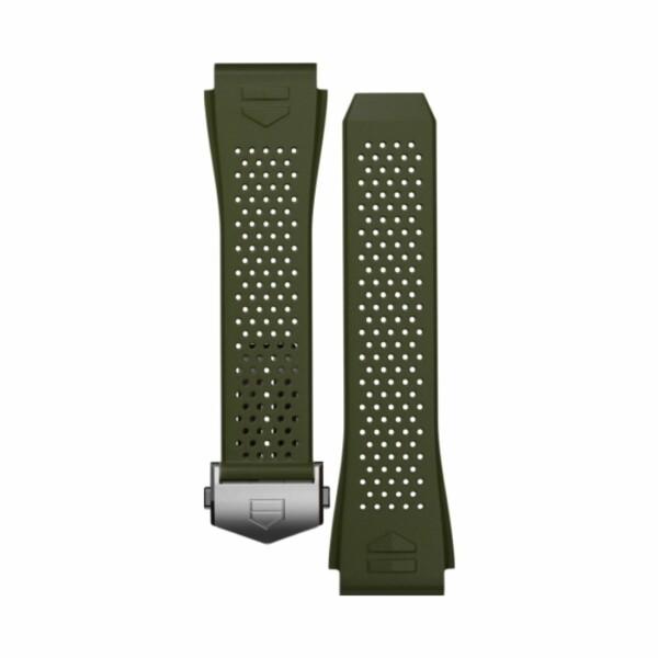 Bracelet de montre TAG Heuer Connected en caoutchouc perforé kaki