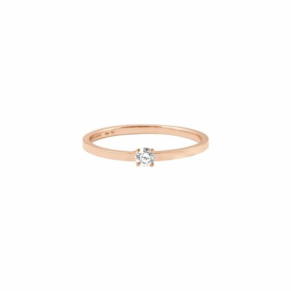 Bague Vanrycke Valentine en or rose et 1 diamant