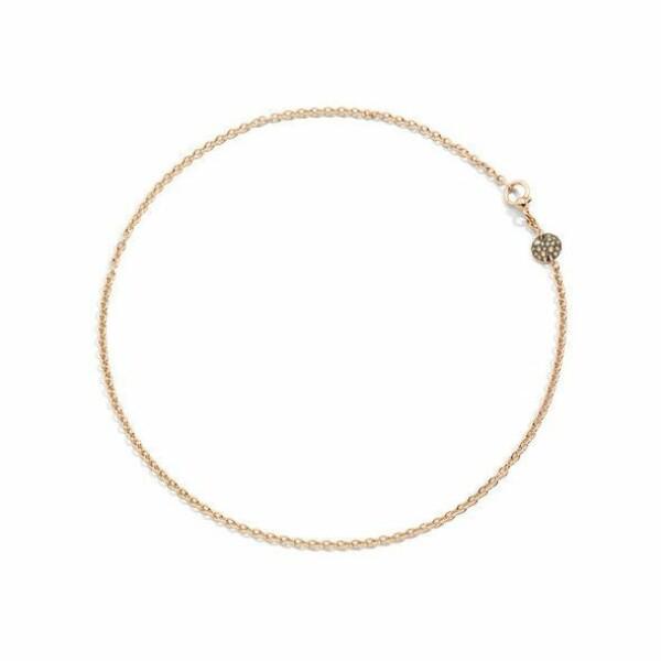 Collier Pomellato Sabbia en Or rose et Diamant brun longueur 42cm
