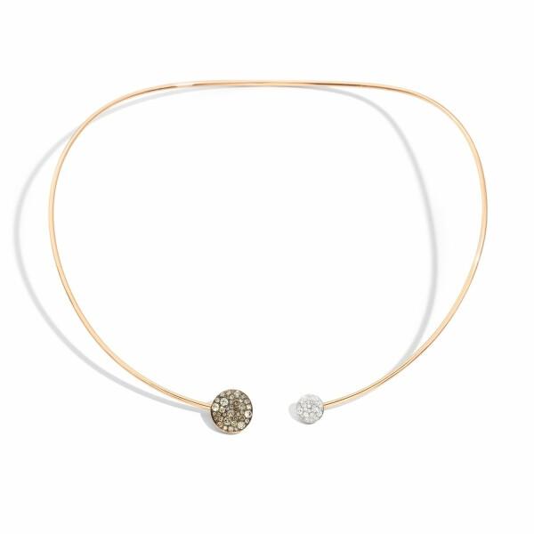Collier Pomellato Sabbia en or rose, diamants bruns et diamants