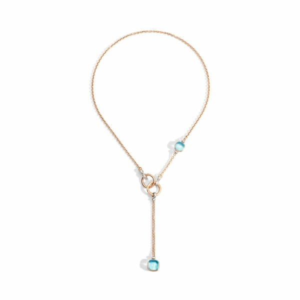 Collier Pomellato Nudo en or rose, or blanc, topazes bleu ciel et diamants