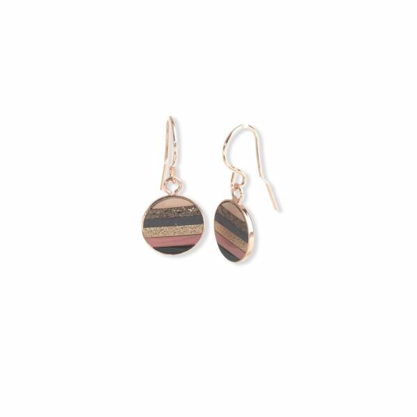 Boucles d'oreilles Flowersforzoé en cuir et plaqué or rose