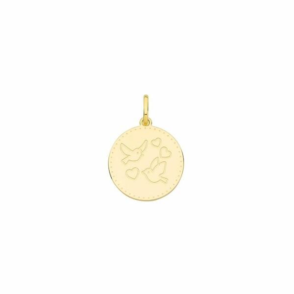 Médaille Oiseaux et Cœurs en or jaune