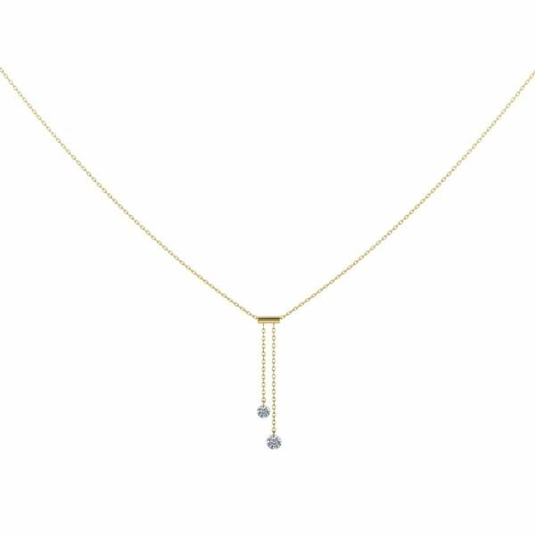 Collier LA BRUNE & LA BLONDE 360° Cravate en or jaune et diamants de 0.20ct