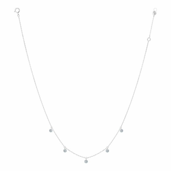 Collier LA BRUNE & LA BLONDE 360° en or blanc et diamants de 0.35ct