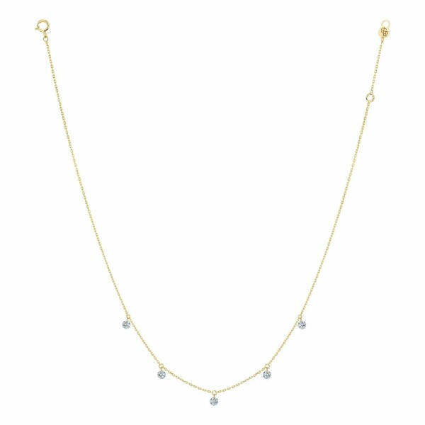 Collier LA BRUNE & LA BLONDE 360° en or jaune et diamants de 0.35ct