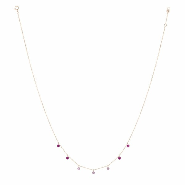 Collier LA BRUNE & LA BLONDE CONFETTI Rose en or rose, rubis et saphirs rose de 0.90ct