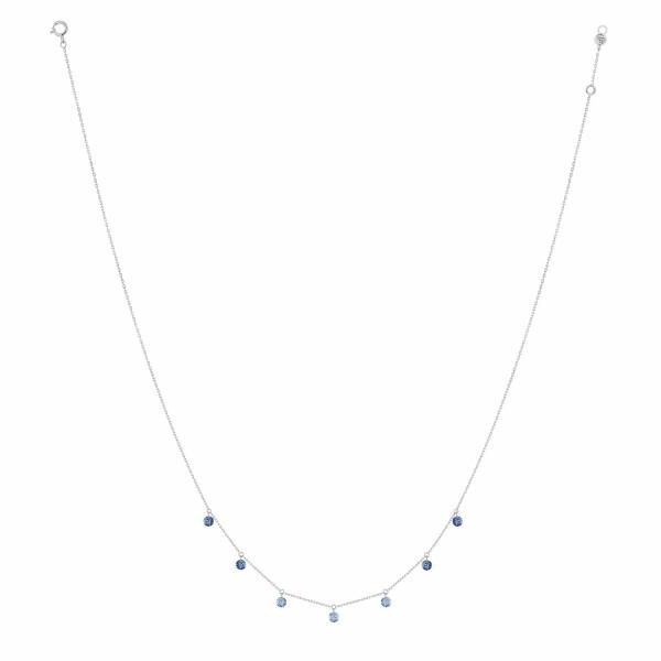 Collier LA BRUNE & LA BLONDE CONFETTI Bleu en or blanc et saphirs bleus de 0.90ct
