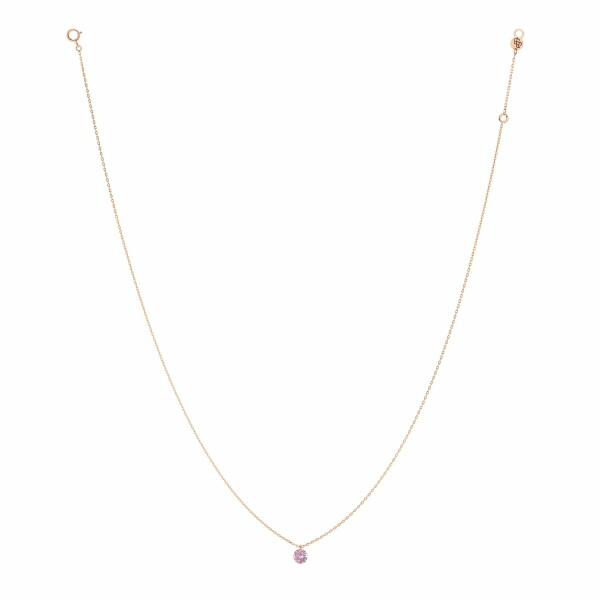 Collier LA BRUNE & LA BLONDE CONFETTI en or rose et saphir rose de 0.30ct