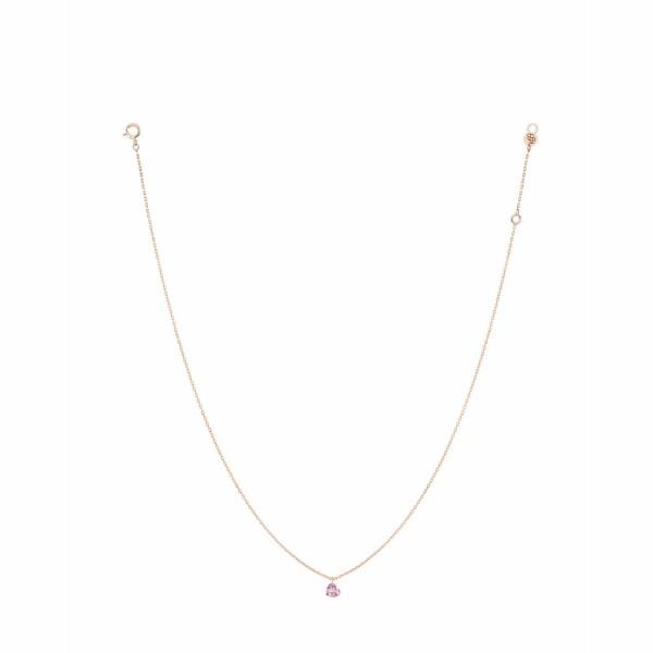 Collier LA BRUNE & LA BLONDE CONFETTI en or rose et saphir rose cœur de 0.50ct