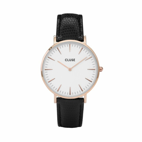 Montre Cluse La Bohème Rose Gold White/Black Lizard