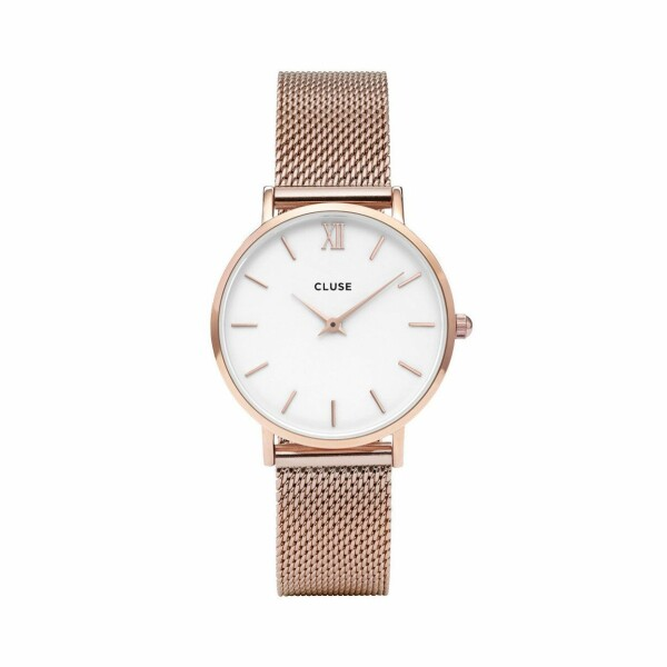 Montre Cluse Minuit Mesh Rose Gold/White