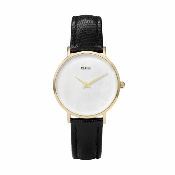 Montre Cluse Minuit La Perle Gold White Pearl/Black Lizard