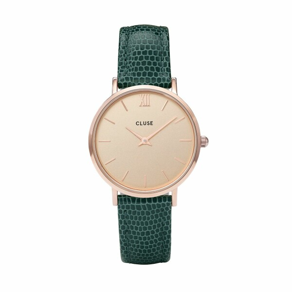 Montre Cluse Minuit Rose Gold Champagne/Emerald Lizard