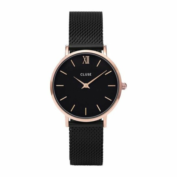 Montre Cluse Minuit Mesh Rose Gold Black/Black