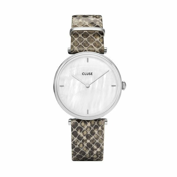 Montre Cluse Triomphe Silver White Pearl/Soft Grey Python