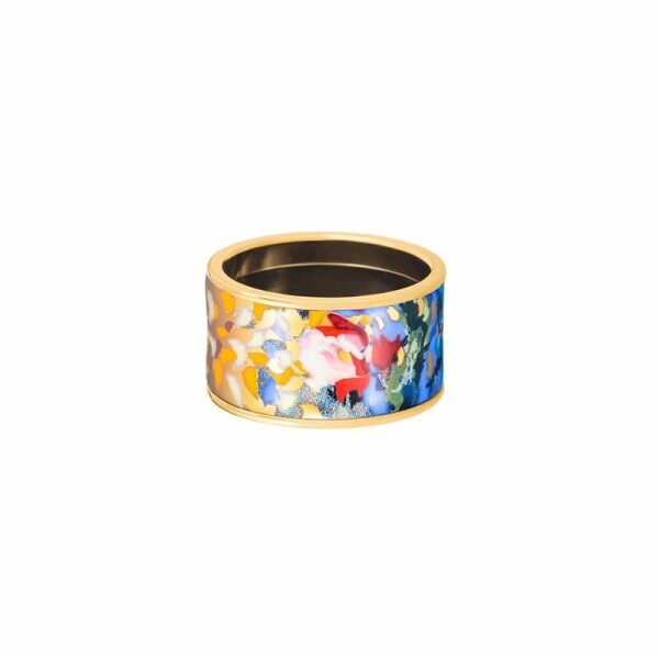 Bague FREY WILLE Hommage à Claude Monet Diva en email plaqué or jaune