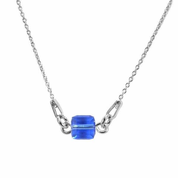 Collier Indicolite Pixel Carré en argent et cristaux Swarovski bleus