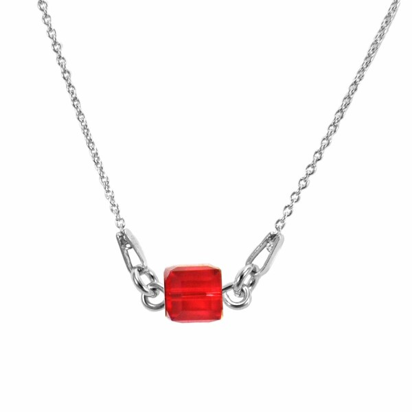 Collier Indicolite Pixel Carré en argent et cristaux Swarovski rouges