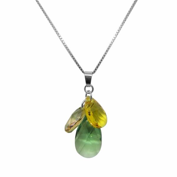 Collier Indicolite Fleur en argent et cristaux Swarovski verts et jaunes