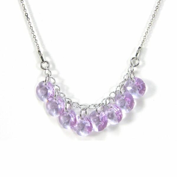 Collier Indicolite Helen en argent et cristaux Swarovski violets