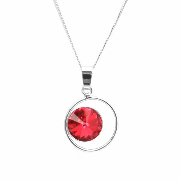 Collier Indicolite Juliette en argent et cristaux Swarovski rouges