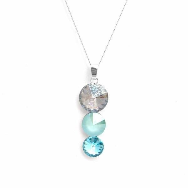 Collier Indicolite Ricochet en argent et cristaux Swarovski turquoises et blancs