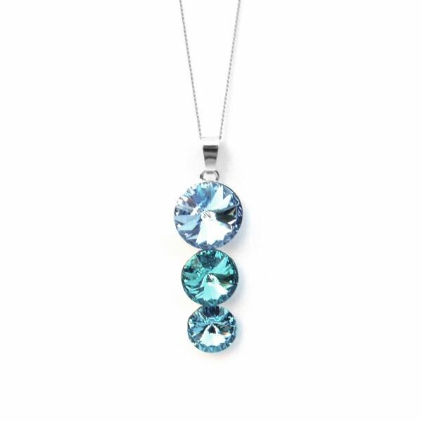 Collier Indicolite Ricochet en argent et cristaux Swarovski bleus