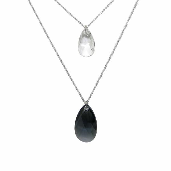 Collier Indicolite Sabine en argent et cristaux Swarovski noirs et blancs