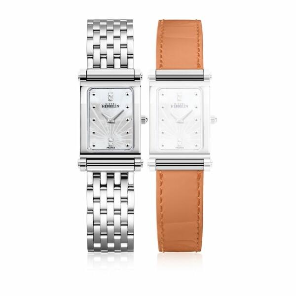 Coffret de montre Michel Herbelin Antarès, bracelet acier et cuir