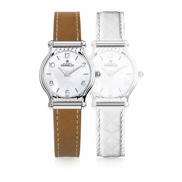 Coffret de montre Michel Herbelin Antarès, 2 bracelets cuir