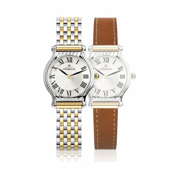 Coffret de montre Michel Herbelin Antarès, bracelet acier plaqué or et cuir