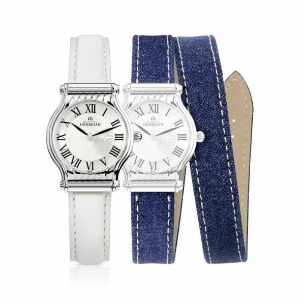 Coffret de montre Michel Herbelin Antarès et 2 bracelets cuir