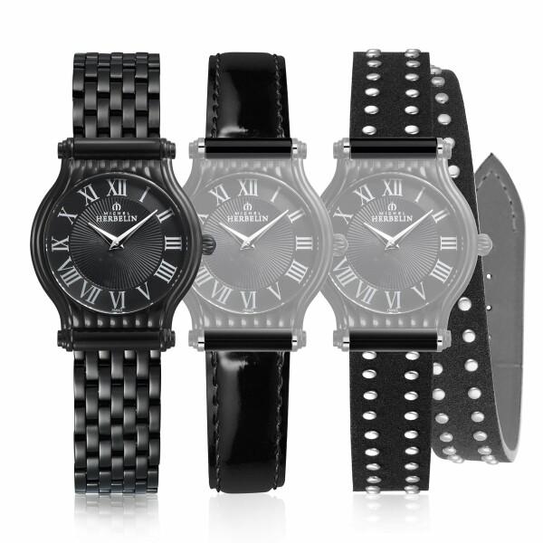 Coffret de montre Michel Herbelin Antarès Rock Chic Edition, bracelet acier et cuir