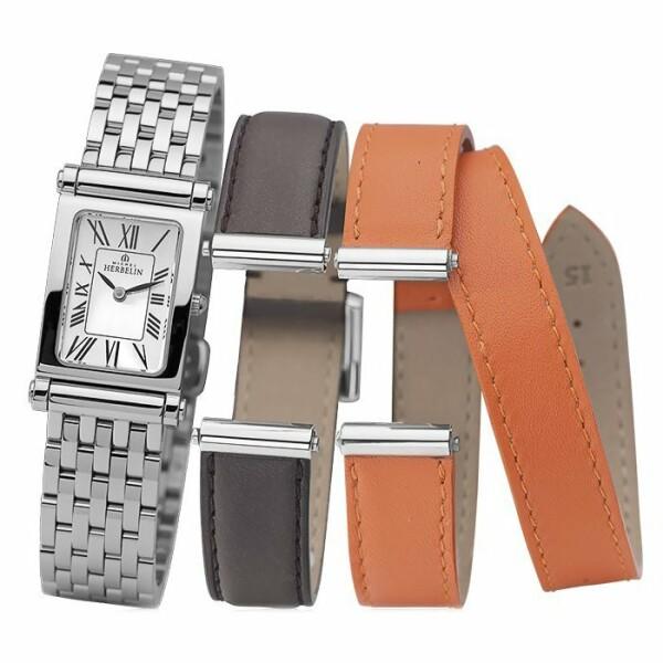 Coffret de montre Michel Herbelin Antarès, bracelet acier et 2 bracelets cuir
