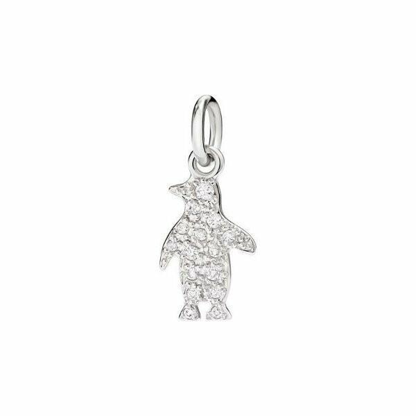 Pendentif sur cordon DoDo Pingouin en Or blanc et Diamant