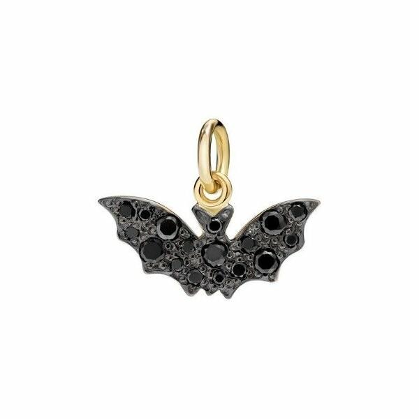Pendentif sur cordon DoDo Chauve-souris en Or jaune et Diamant noir