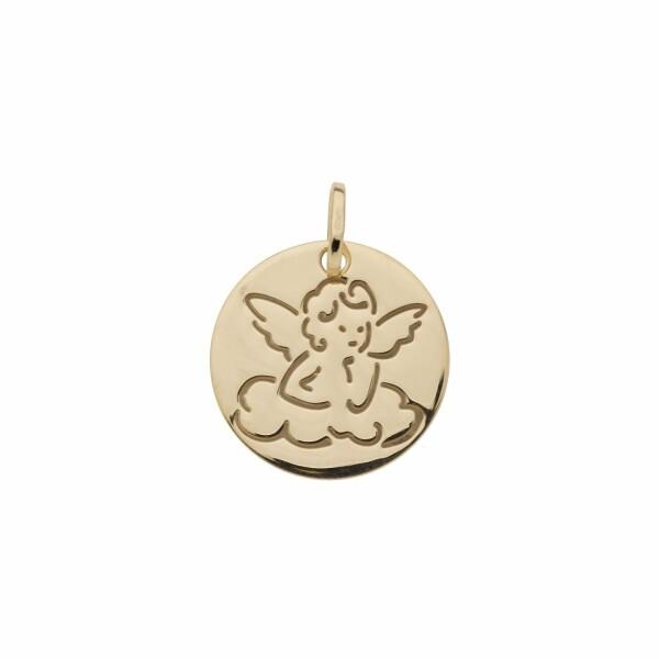 Médaille Ange sur un nuage en or jaune